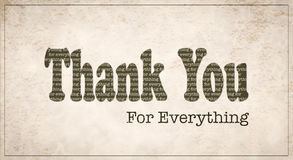 Vintage Style Thank You for Everything card royalty free illustration