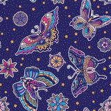 Vintage style traditional tattoo flash butterflies and flowers seamless pattern. Seamless pattern with butterflies in traditional tattoo flash style isolated on Royalty Free Stock Photo
