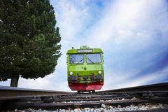Vintage style train on blue sky Royalty Free Stock Image