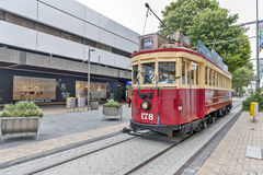 Vintage style tram on the Christchurch Tramway offers a unique city tour by the classic way of transportation in New Zealand Royalty Free Stock Images