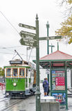 Vintage style tram on the Christchurch Tramway offers a unique city tour by the classic way of transportation in New Zealand Stock Photography
