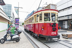 Vintage style tram on the Christchurch Tramway offers a unique city tour by the classic way of transportation in New Zealand Royalty Free Stock Photos