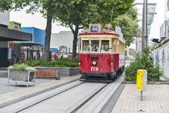 Vintage style tram on the Christchurch Tramway at the Re:Start Mall offers a unique city tour by the classic way of transportation Royalty Free Stock Image