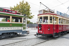 Vintage style trams on the Christchurch Tramway offers a unique city tour by the classic way of transportation in New Zealand Stock Photos