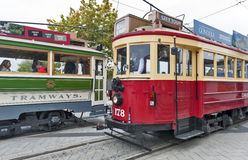 Vintage style trams on the Christchurch Tramway offers a unique city tour by the classic way of transportation in New Zealand Royalty Free Stock Image