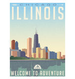 Vintage style travel poster of chicago Illinois skyline