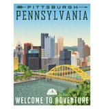 Travel poster or luggage sticker of Pittsburgh Pennsylvania Stock Images