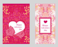 Vintage style Valentine Day Card Set Stock Images