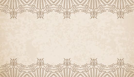 Vintage style vector background with geometric pattern border de. Coration, divider, header, ornamental frame template Stock Photo
