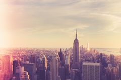 New York City Vintage style. Vintage style view across the beautiful city of New York at Midtown Manhattan towards downtown.  This image has a retro effect Royalty Free Stock Images