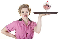 Vintage Style Waitress or Server With Serving Tray Stock Photography