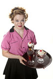 Vintage Style Waitress Serving Ice Cream and Sodas Stock Photo