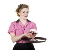 Vintage Style Waitress Serving an Ice Cream Sundae Stock Photos