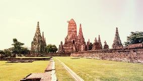 Vintage style Wat Chaiwatthanaram ancient temple Stock Photo