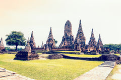 Vintage style Wat Chaiwatthanaram ancient temple Royalty Free Stock Photography