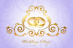 Vintage style wedding invitation with gold rings Royalty Free Stock Photography
