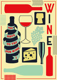 Vintage style wine poster. Retro vector illustration. Stock Photos