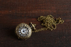 Vintage style woman pocket watch necklace Stock Image