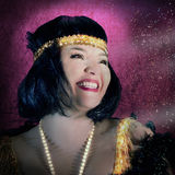 Vintage Style Woman is Smiling on Magenta Background. Celebrity Concept Stock Image