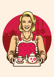 Vintage style of women wearing apron presenting a set of tea Stock Photography