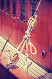 Vintage style wooden yacht equipment. Royalty Free Stock Photos