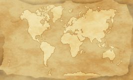 Vintage style world map background. Illustration of vintage world map with worn paper effect, without street, river, and other details stock illustration