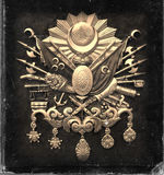 Vintage style, worn photo paper look image of Ottoman Empire Emblem royalty free stock photo