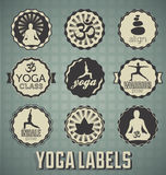 Vintage Style Yoga Labels. Collection of retro style yoga labels and icons Royalty Free Stock Photos
