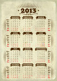 Vintage styled 2013 calendar. With ribbons on aged paper Royalty Free Stock Photography
