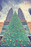 Vintage styled christmas tree in Kuala Lumpur. Stock Photo