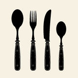 Vintage Cutlery Silhouettes stock illustration