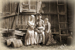 Vintage styled family portrait Stock Photo