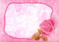 Vintage styled frame with rose Stock Photography