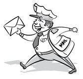 Vintage Styled Mailman with a letter. Illustration of a Vintage Styled Mailman delivering his letters to the back of beyond and back again Stock Image