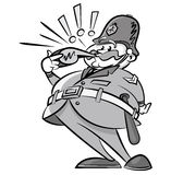 Vintage Styled Policeman with a whistle. Illustration of a Vintage Styled British Policeman letting everybody know he is here to help with his noisy whistle Royalty Free Stock Photography