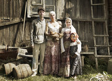 Vintage styled portrait of countryside family Royalty Free Stock Image