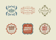 Vintage styled retro stickers with ornaments Royalty Free Stock Images