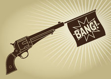 Vintage Styled Revolver with Bang Flag Stock Photos