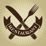 Vintage Styled knife and fork / Restaurant Seal Stock Images