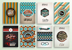 Vintage Styles brochure templates set with Labels Stock Photo
