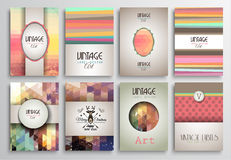 Vintage Styles brochure templates set with Labels. Royalty Free Stock Photos