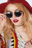 Vintage styling model wearing round black sunglasses stock photos
