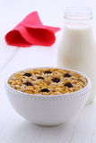 Vintage styling muesli cereal. Delicious and nutritious muesli or granola cereal, on vintage appetizing french retro styling stock image