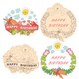 Vintage Stylish floral label with butterflies,bees,sun.Happy bir. Stylish floral  label  set with colored flowers, plants,ribbons,bees,sun,clouds  in Doodle Stock Photography