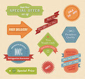 Set of vintage labels & ribbons. Vintage stylish vector patches, ribbons and labels Royalty Free Stock Photos