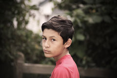 Vintage stylistic portrait of serious boy Royalty Free Stock Photography