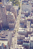 Vintage stylized aerial picture of Manhattan, NYC. Royalty Free Stock Images