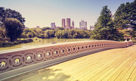 Vintage stylized bridge in Central Park, New York, USA Stock Image