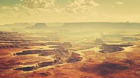 Vintage stylized Canyonlands National Park landscape, USA. Stock Image