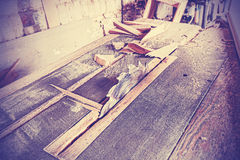 Vintage stylized circular saw. Royalty Free Stock Photography